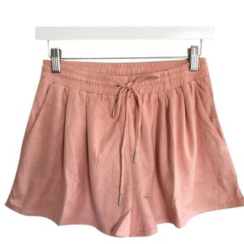Women Loose Wide Leg Leather Cashmere Shorts Casual Short