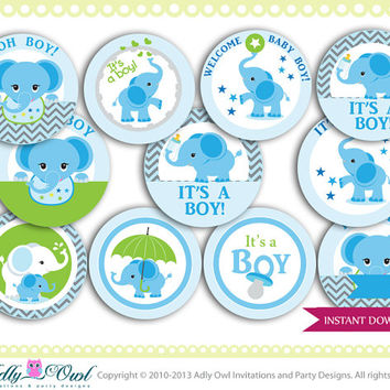 Boy Elephant Cupcake Toppers for Baby Shower, Blue Chevron for a boy Elephant baby shower. Elephant on ball green, blue,grey, star-oz01