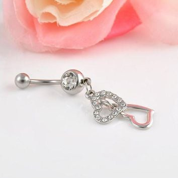 ac PEAPO2Q High quality Double Hearts Rhinestone Crystal Medical Steel Belly Button Ring Dangle Navel Body Jewelry Piercings Free shipping