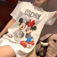 """Moschino"" Women Casual Cute Cartoon Mickey Letter Print Short Sleeve T-shirt Tops Tee"