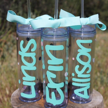 Set of 3 Tall Skinny Personalized Tumblers - Choose Fonts and Colors - Great Gift - Completely Customized with Ribbon and Polka Dots