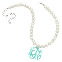Pearl Monogram Acrylic Necklace