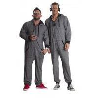 Black Oatmeal one piece pajamas For Adults, footless Onesuits