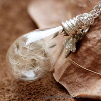 Nature Inspired Jewelry Real Dandelion Necklace Pendant Gift (HM0060)
