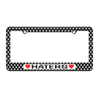 Haters Love with Hearts - License Plate Tag Frame - Polka Dots Design