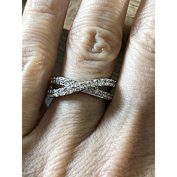 The Crisscross, A 1.95TCW Russian Lab Diamond Wedding Band Ring
