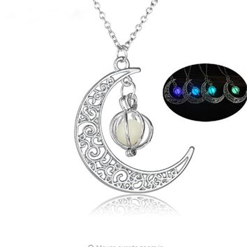 Crescent Moon Luminous Charm Glow in the Dark Necklace
