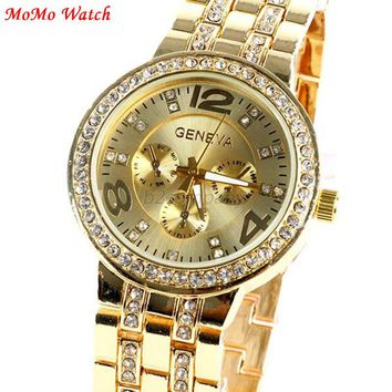 Women Men Fashion Bling Crystal Women Girl Watch Unisex Stainless Steel Quartz Wrist Watches Relojes