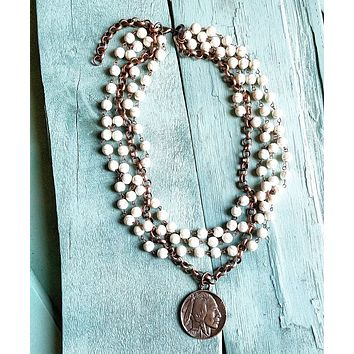 White Turquoise and Copper Necklace with Indian Copper Coin