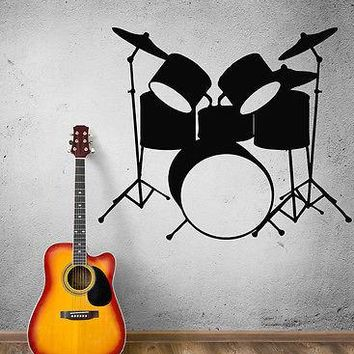 Wall Stickers Vinyl Decal Drums Musical Instruments Music Rock Pop Art Unique Gift (ig382)