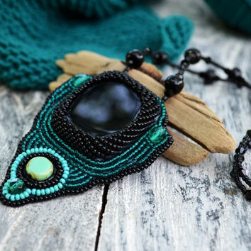 Black Emerald Bead Embroidery necklace Ethnic Embroidered pendant Beaded Agate pendant Tribal Beadwork Seedbead necklace Embroidered Jewelry