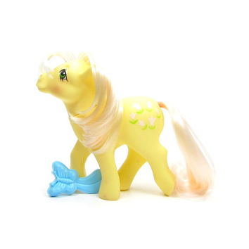 Posey My Little Pony Vintage G1 Yellow with Pink Tulips Symbol, Blue Butterfly Brush
