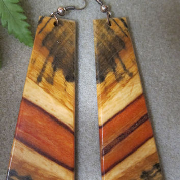 Norfolk Island Pine, Exotic Wood Dangle Very Large Earrings ExoticWoodButtonsAnd handcrafted ecofriendly