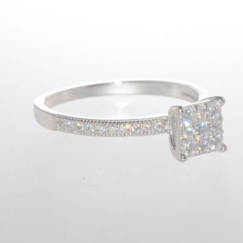 Sterling Silver Wedding Ring Micro Pave Cubic Zirconia Stones with Accent Stones