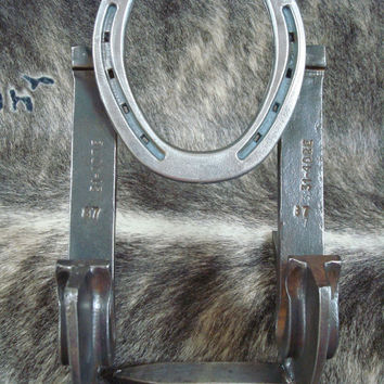 Horseshoe Railroad Spike Cookbook Holder Cookbook Stand Recipe Holder Plate Holder Rustic Decor Western Decor Ready to Ship HSH-004
