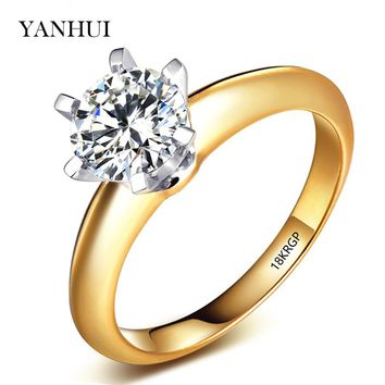 Lose Money Big Sale! Engraved 18KRGP Stamp Original Pure Gold Color Ring Natural 8mm Solitaire CZ Stone Wedding Rings For Women
