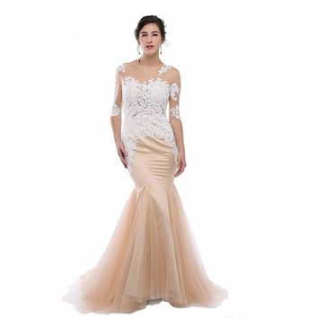 Elegant Mermaid Evening Dresses Long with Half Sleeves Appliques Prom Gown