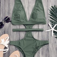Cut Out Plunging Neck Bandage Swimwear