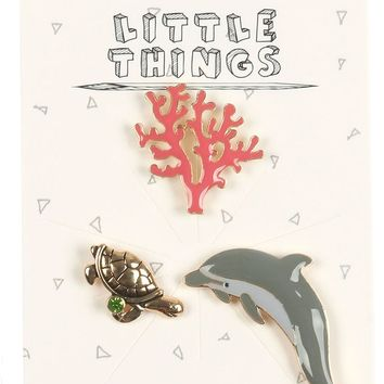 3 Piece Dolphin Coral and Turtle Pin Brooch Set