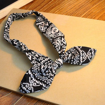 Aztec Print Hairhoop Rabbit Ears Knotted Headband