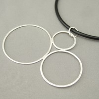 Three Bubbles Sterling Silver Circle Pendant | The Silver Forge Handcrafted Jewellery