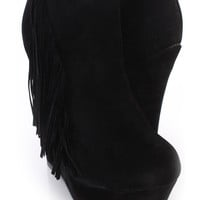 Black Fringe Ankle Wedge Booties Faux Suede