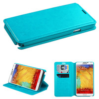 Book-Style Wallet Flip Stand Case for Samsung Galaxy Note 3 - Blue