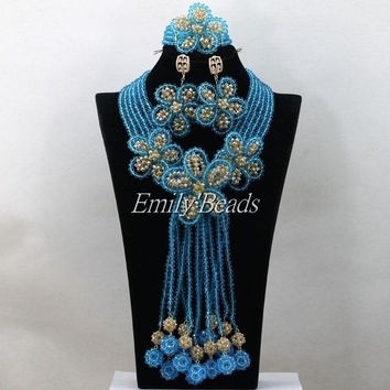 Nigerian Traditional Wedding African Beads Jewelry Set - Free Shipping