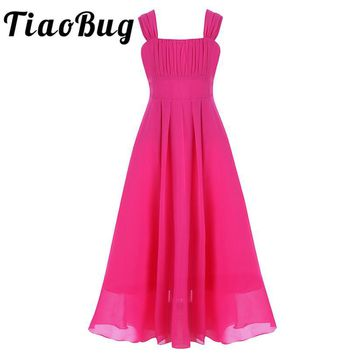 TiaoBug 2017 Summer Girls Chiffon Flower Girls Dress Princess Pageant Wedding Birthday Party Kids Ball Gown Dress Girls Clothes