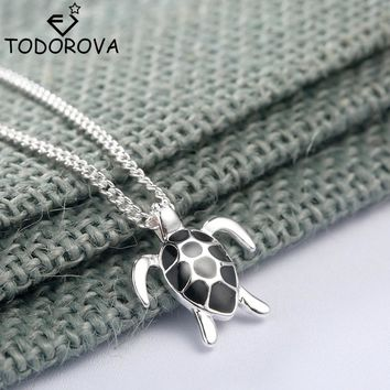 Todorova Lovely Silver Animal Turtle Necklace & Pendants Girls Simple Black Enamel Tortoise Women Sea Jewelry Christmas Gifts