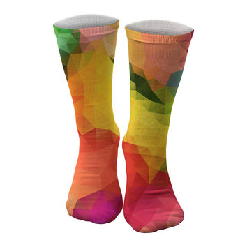 Colorful Geometric midi socks
