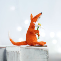 Needle Felt Fox - Christmas Decoration - Dreamy Orange Fox With A Daisy  -Needle Felt Art Doll -  Orange Fox