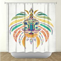 Artistic Shower Curtain | Pam Gallegos- Pom Graphic Design | Whimsical Lion | Dianoche Designs