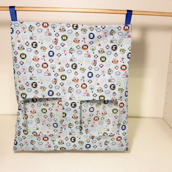 Guinea Pig Feeder Bag, Rabbit Hay Sack - Blue Penguins