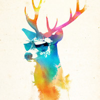 Sunny Stag Art Print by Robert Farkas