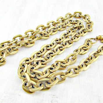 Vintage Designer VENDOME Necklace, Long Chunky Gold Curb Chain Necklace, Runway Statement Necklace, 1960s High-End Haute Couture Jewelry