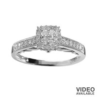 Simply Vera Vera Wang Round-Cut Diamond Tiered Frame Engagement Ring in 14k White Gold (3/8 ct. T.W)