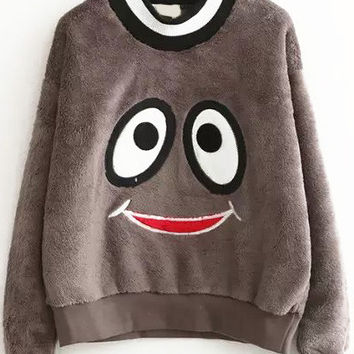 Brown Smiley Patched Mohair Sweatshirt