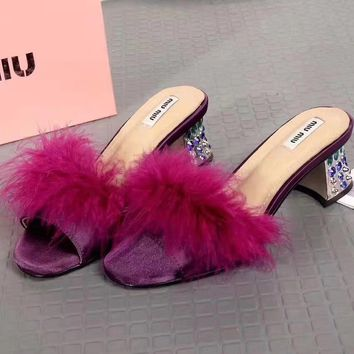 Miu Miu Women Fashion Casual Heels Shoes Slipper Shoes-2