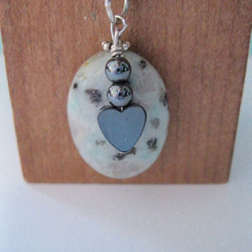 Handmade Heart Charm Pendant Necklace Sterling Silver Black Leather Wire Wrapped