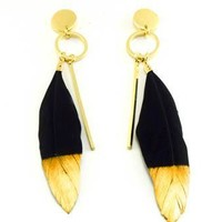 Golden Tip Feather Earrings
