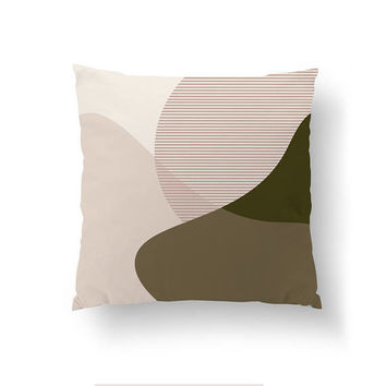 Watercolor Pillow, Green Pink Pastel, Home Decor, Cushion Cover, Pastel Decor, Geometric Shapes, Throw Pillow, Simple Art, Decorative Pillow