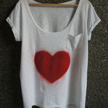Hand Painted T Shirt Red&White Love / Loose Blouse/ Casual  CIJ Sale - 25 % Off
