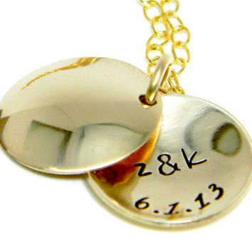 Gold Locket Personalized - Hand Stamped Necklace