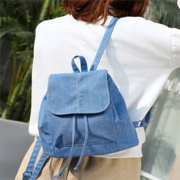 Girls bookbag Fashion Soft Solid Color Canvas Women Backpack Drawstring School Bags Female Bag For Teenage Girls Lovers Bookbag AT_52_3