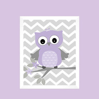 Gray and Lavender Owl on Tree Branch, Baby Nursery Art, CUSTOMIZE YOUR COLORS, 8x10 Prints, nursery decor nursery print art baby room decor