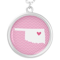 Oklahoma Love Chevron State Map Custom Necklace