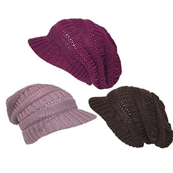 CTM® Womens Knit Beanie Hat with Visor (Pack of 3), Autumn Pack