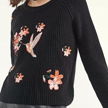 Knit Tops Winter Women's Fashion Pullover Embroidery Sweater [28272459802]