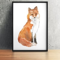 Nursery decor Watercolor fox print Animal art ACW41